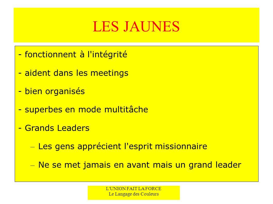 LES JAUNES - fonctionnent à l'intégrité - aident dans les meetings - bien organisés - superbes en mode multitâche - Grands Leaders – Les gens apprécie
