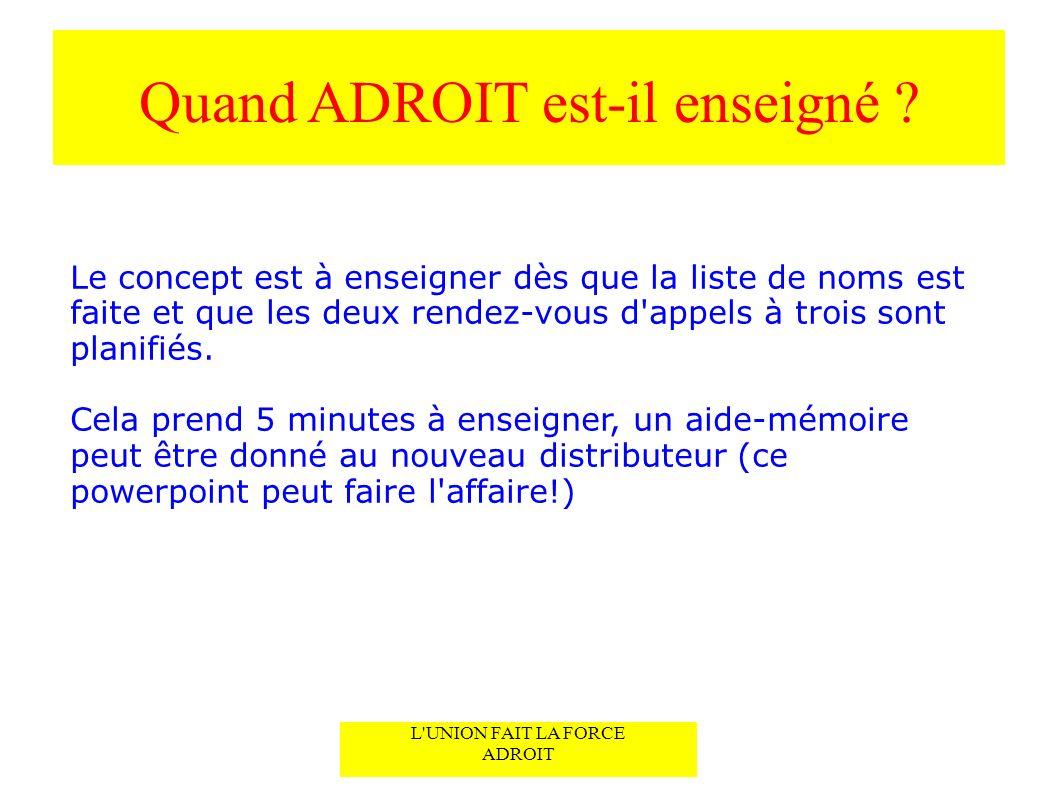 Quand ADROIT est-il enseigné .
