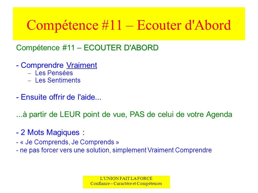 Compétence #11 – Ecouter d'Abord L'UNION FAIT LA FORCE Confiance – Caractère et Compétences ECOUTER D'ABORD Compétence #11 – ECOUTER D'ABORD - Compren