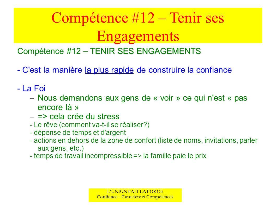 Compétence #12 – Tenir ses Engagements L UNION FAIT LA FORCE Confiance – Caractère et Compétences TENIR SES ENGAGEMENTS (suite) Compétence #12 – TENIR SES ENGAGEMENTS (suite) - Croire en l invisible .