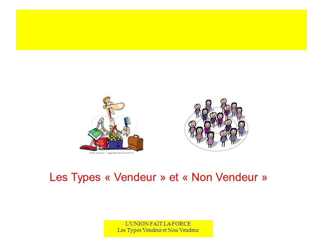 L'UNION FAIT LA FORCE Les Types Vendeur et Non Vendeur Les Types « Vendeur » et « Non Vendeur »