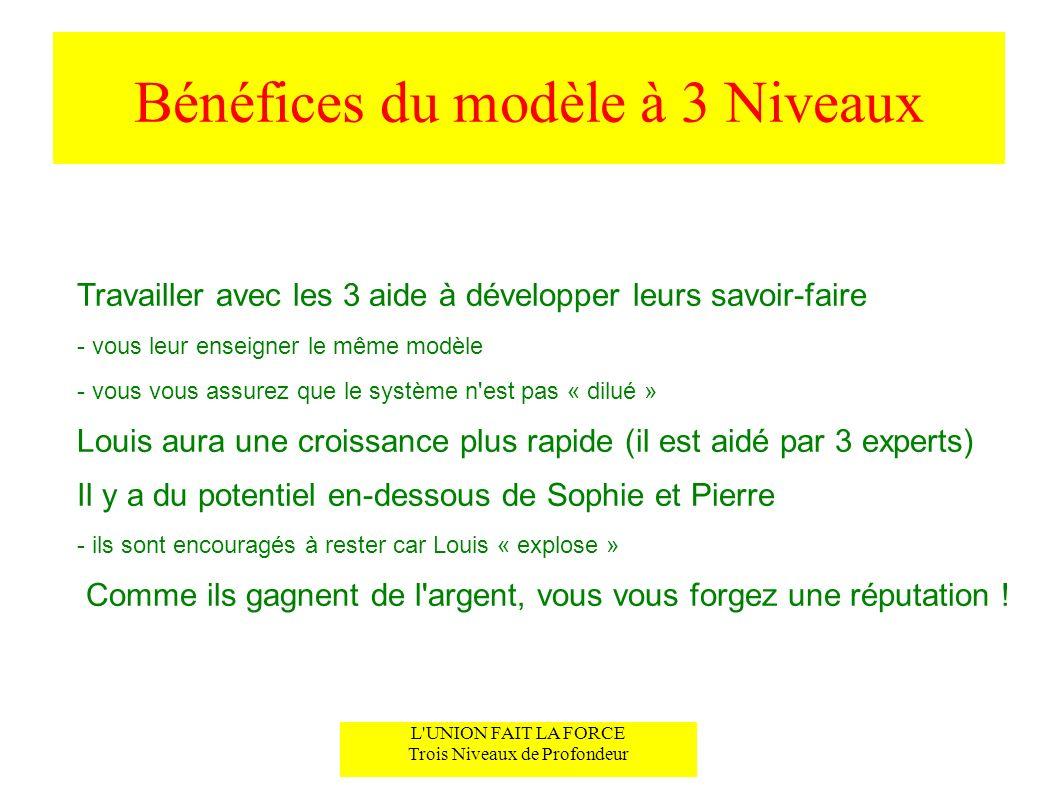 Bénéfices du modèle à 3 Niveaux Travailler avec les 3 aide à développer leurs savoir-faire - vous leur enseigner le même modèle - vous vous assurez qu