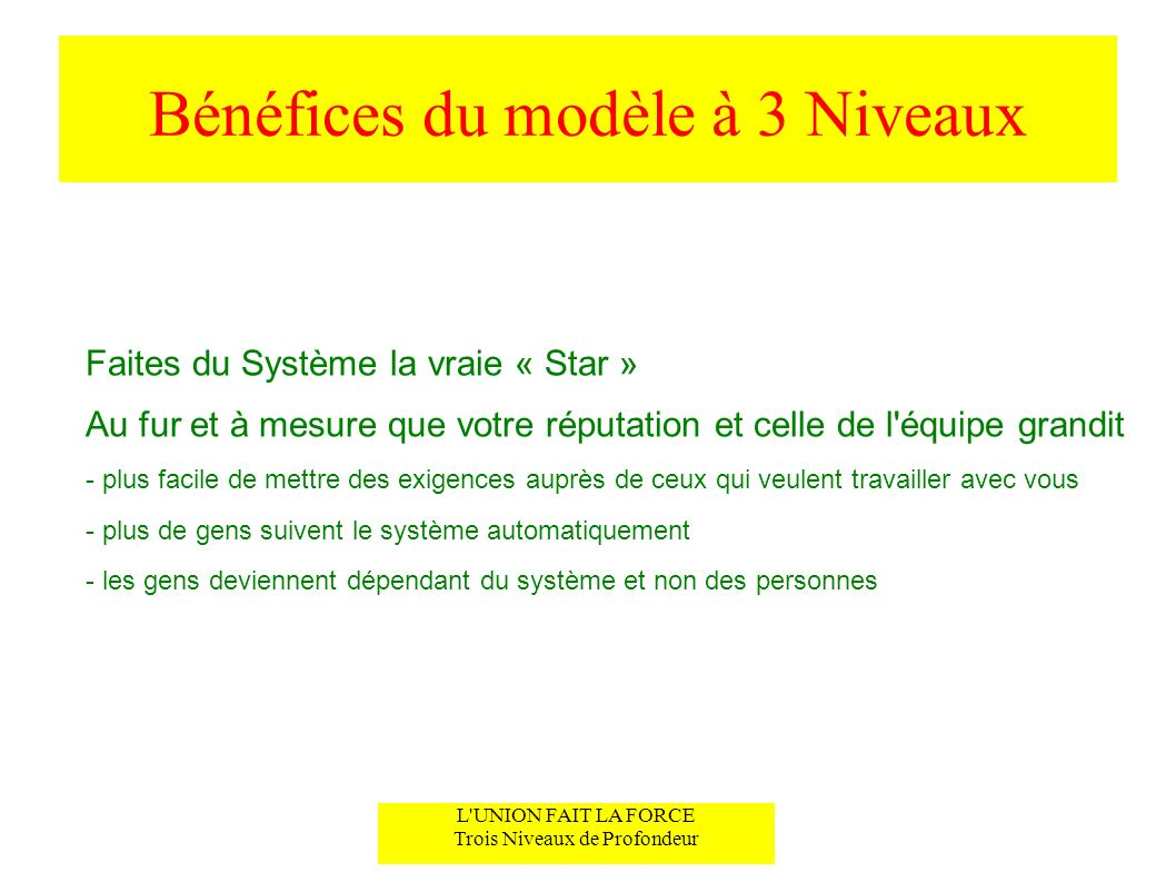 Bénéfices du modèle à 3 Niveaux Faites du Système la vraie « Star » Au fur et à mesure que votre réputation et celle de l'équipe grandit - plus facile