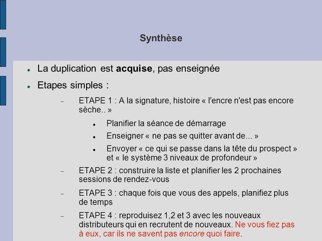 Synthèse La duplication est acquise, pas enseignée Etapes simples : ETAPE 1 : A la signature, histoire « l'encre n'est pas encore sèche.. » Planifier