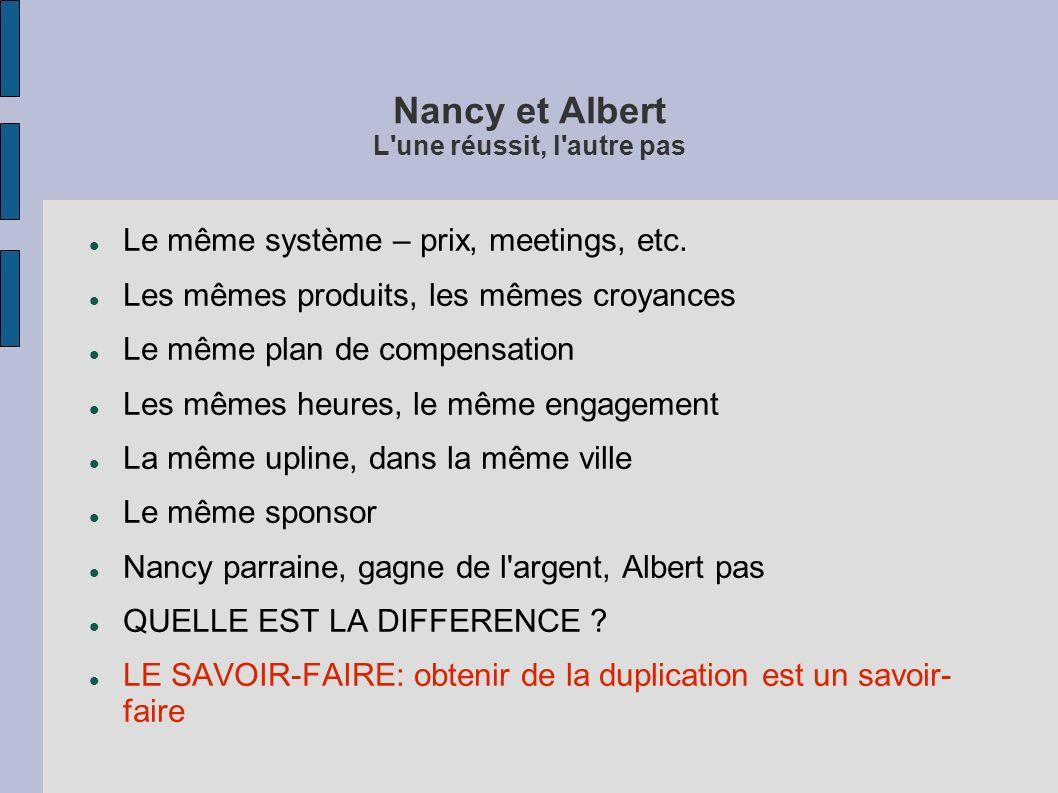 Nancy et Albert L'une réussit, l'autre pas Le même système – prix, meetings, etc. Les mêmes produits, les mêmes croyances Le même plan de compensation