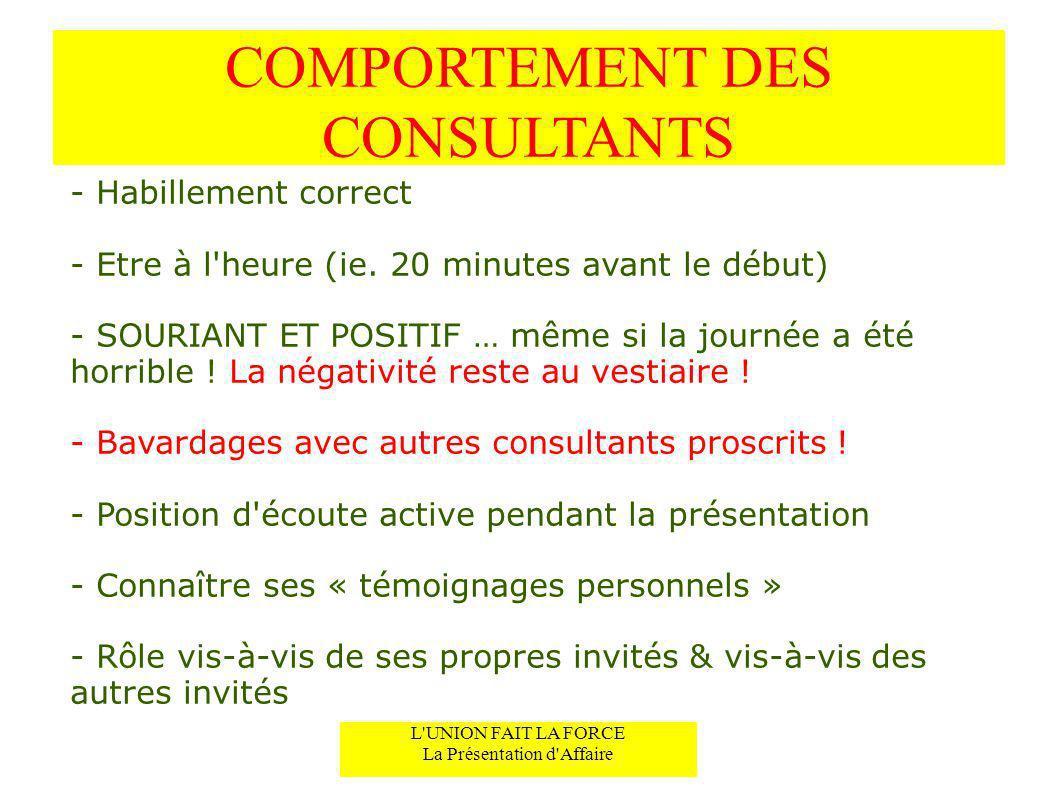 COMPORTEMENT DES CONSULTANTS - Habillement correct - Etre à l'heure (ie. 20 minutes avant le début) - SOURIANT ET POSITIF … même si la journée a été h