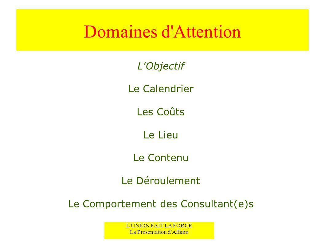 Domaines d'Attention L'Objectif Le Calendrier Les Coûts Le Lieu Le Contenu Le Déroulement Le Comportement des Consultant(e)s L'UNION FAIT LA FORCE La