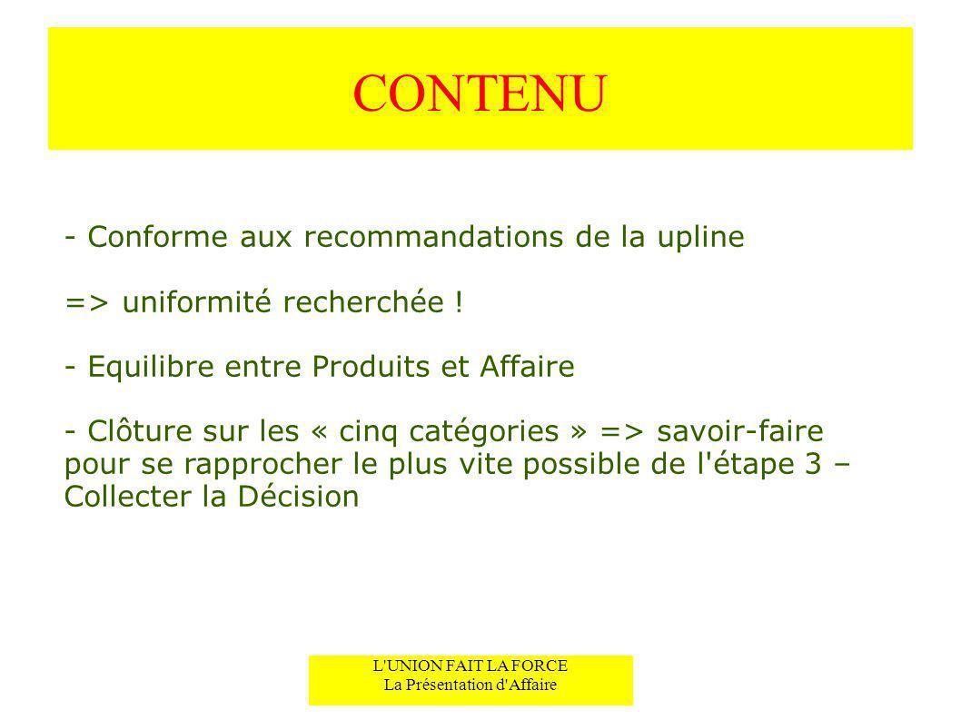CONTENU - Conforme aux recommandations de la upline => uniformité recherchée ! - Equilibre entre Produits et Affaire - Clôture sur les « cinq catégori