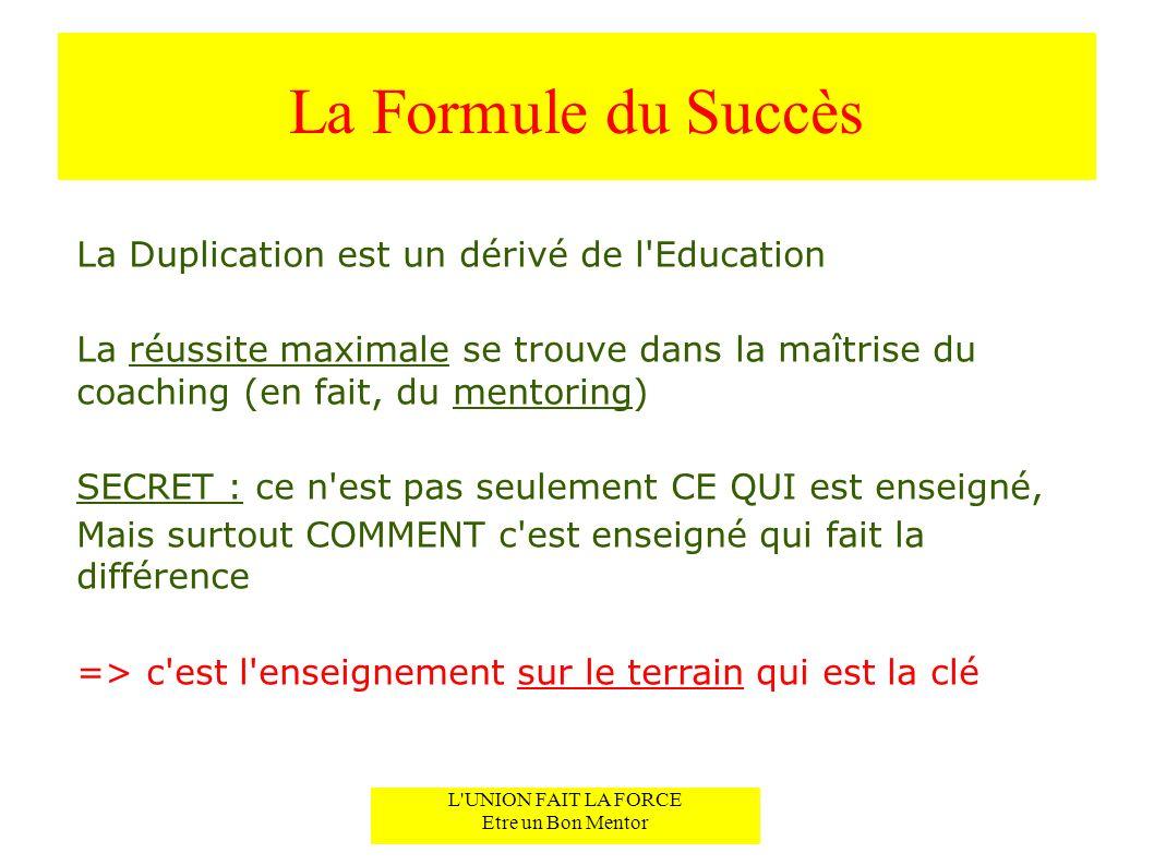 La Formule du Succès La Duplication est un dérivé de l'Education La réussite maximale se trouve dans la maîtrise du coaching (en fait, du mentoring) S