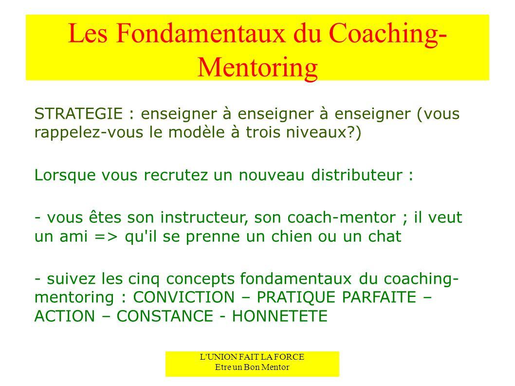 Les Fondamentaux du Coaching- Mentoring STRATEGIE : enseigner à enseigner à enseigner (vous rappelez-vous le modèle à trois niveaux?) Lorsque vous rec