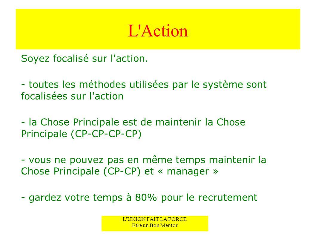 L'Action Soyez focalisé sur l'action. - toutes les méthodes utilisées par le système sont focalisées sur l'action - la Chose Principale est de mainten