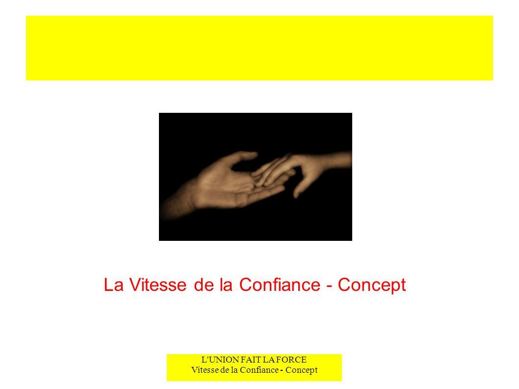 L'UNION FAIT LA FORCE Vitesse de la Confiance - Concept La Vitesse de la Confiance - Concept