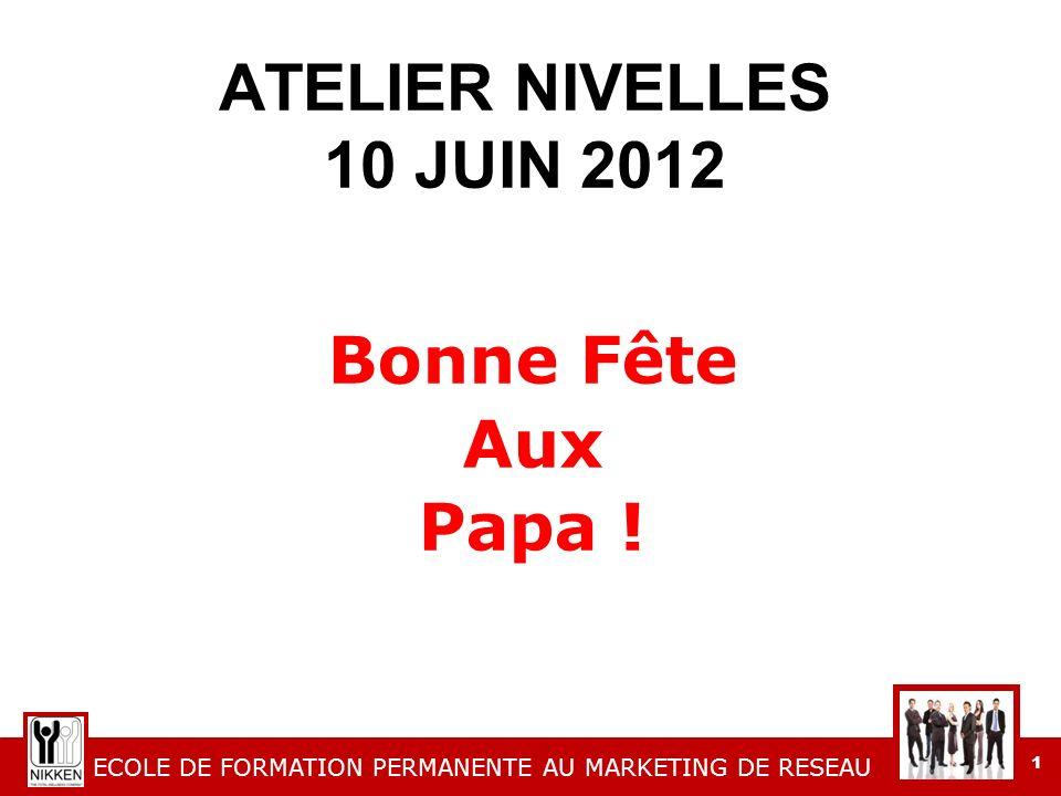 ECOLE DE FORMATION PERMANENTE AU MARKETING DE RESEAU 1 ATELIER NIVELLES 10 JUIN 2012 Bonne Fête Aux Papa !