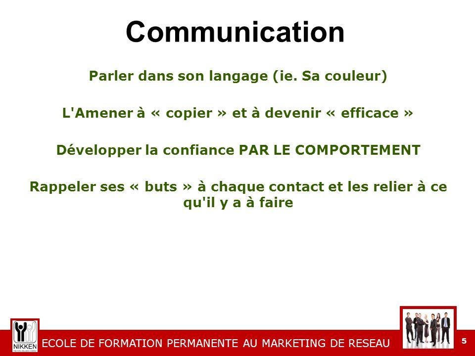ECOLE DE FORMATION PERMANENTE AU MARKETING DE RESEAU 5 Communication Parler dans son langage (ie.