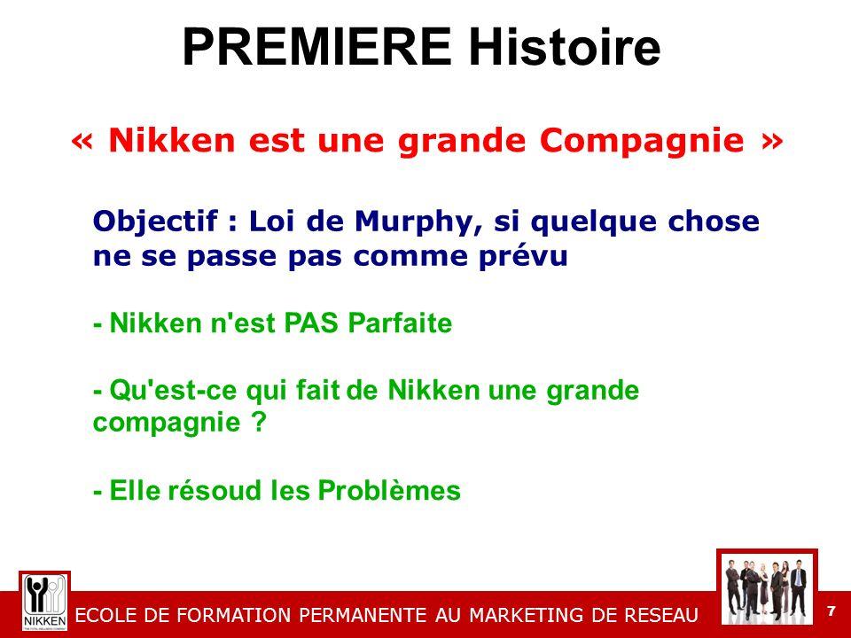 ECOLE DE FORMATION PERMANENTE AU MARKETING DE RESEAU 7 PREMIERE Histoire « Nikken est une grande Compagnie » Objectif : Loi de Murphy, si quelque chose ne se passe pas comme prévu - Nikken n est PAS Parfaite - Qu est-ce qui fait de Nikken une grande compagnie .