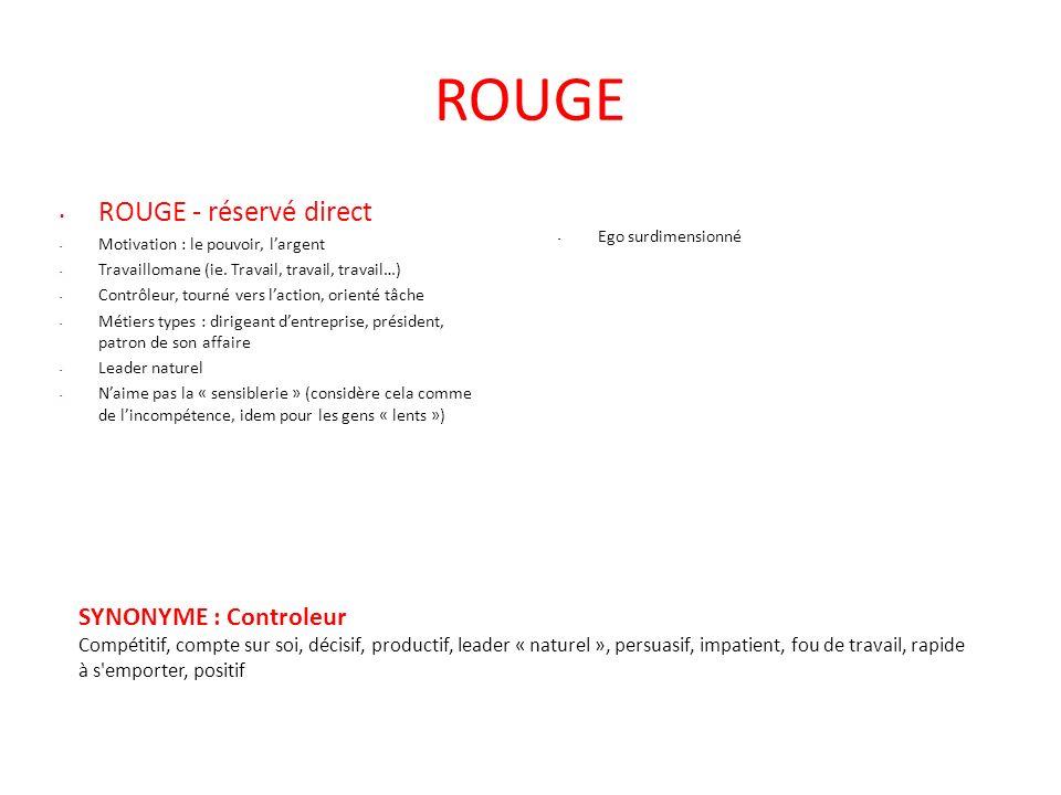 ROUGE ROUGE - réservé direct - Motivation : le pouvoir, largent - Travaillomane (ie. Travail, travail, travail…) - Contrôleur, tourné vers laction, or