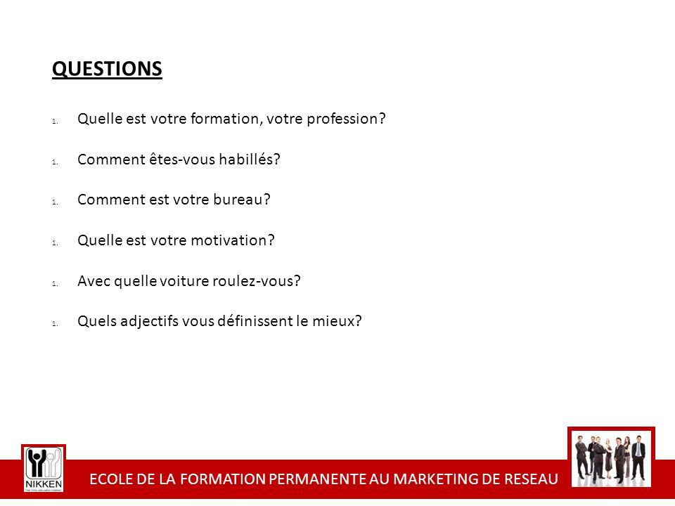ECOLE DE LA FORMATION PERMANENTE AU MARKETING DE RESEAU QUESTIONS 1. Quelle est votre formation, votre profession? 1. Comment êtes-vous habillés? 1. C