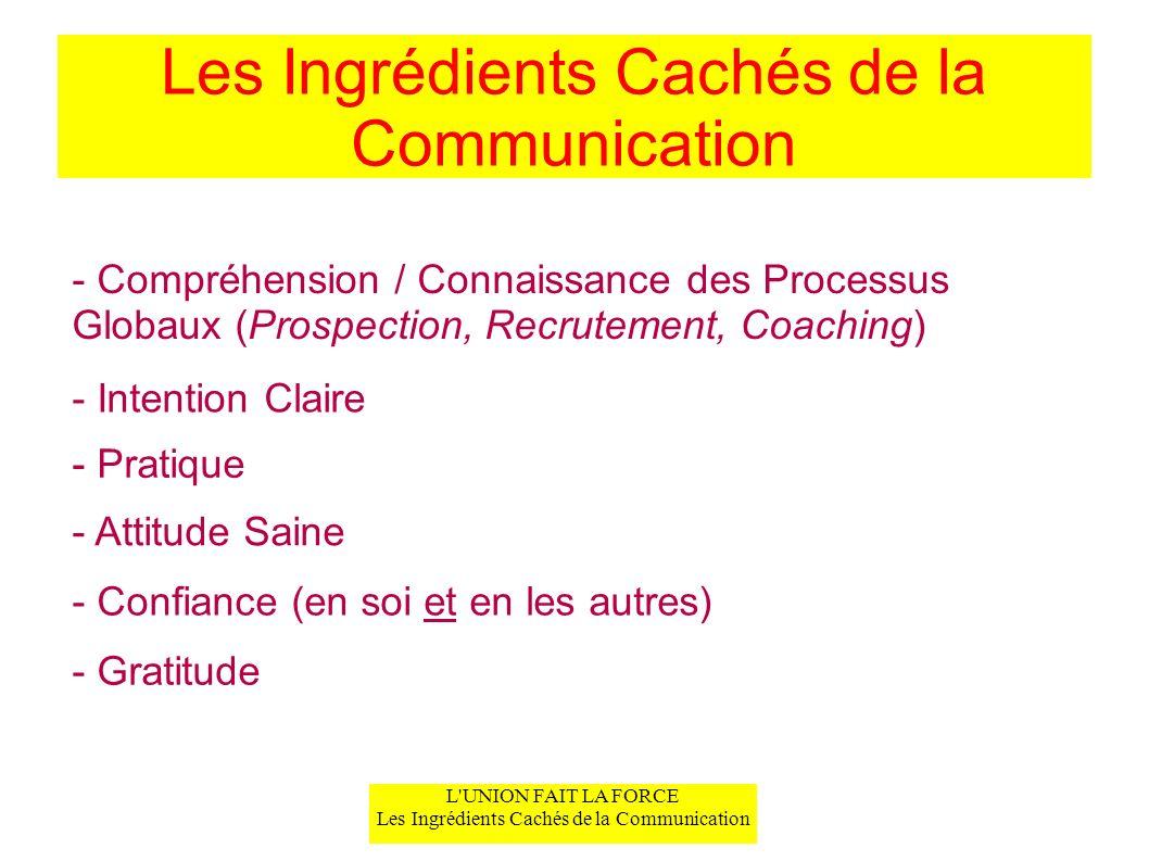 L'UNION FAIT LA FORCE Les Ingrédients Cachés de la Communication Les Ingrédients Cachés de la Communication - Compréhension / Connaissance des Process