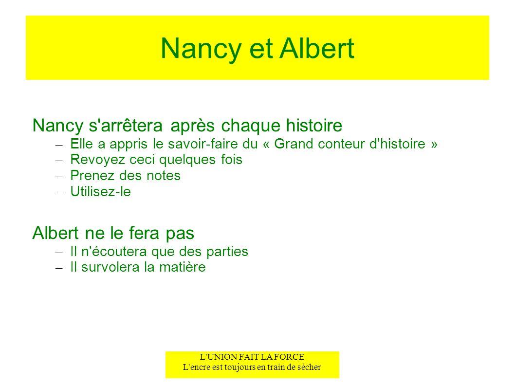 Nancy et Albert Nancy s'arrêtera après chaque histoire – Elle a appris le savoir-faire du « Grand conteur d'histoire » – Revoyez ceci quelques fois –