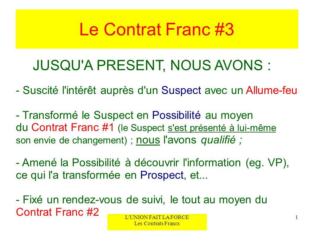 Le Contrat Franc #3 1L'UNION FAIT LA FORCE Les Contrats Francs JUSQU'A PRESENT, NOUS AVONS : - Suscité l'intérêt auprès d'un Suspect avec un Allume-fe