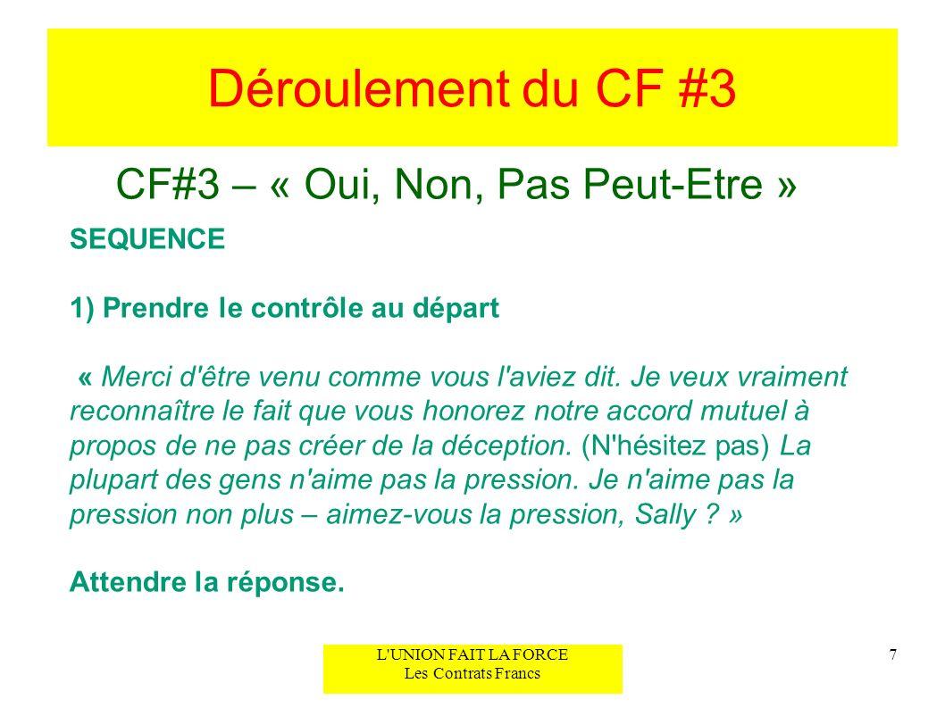 Déroulement du CF #3 CF#3 – « Oui, Non, Pas Peut-Etre » 7L'UNION FAIT LA FORCE Les Contrats Francs SEQUENCE 1) Prendre le contrôle au départ « Merci d