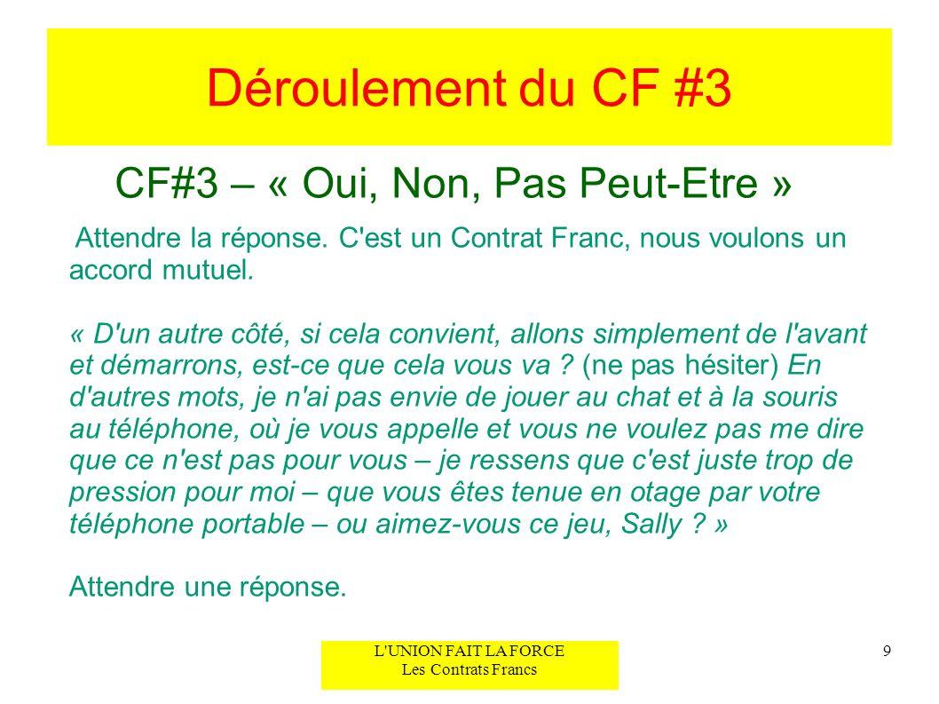 Déroulement du CF #3 CF#3 – « Oui, Non, Pas Peut-Etre » 10L UNION FAIT LA FORCE Les Contrats Francs 2) Confirmation de l accord mutuel authentique « Parfait, donc nous sommes d accord pour un simple « oui, allons-y » ou « non, ce n est pas pour moi.
