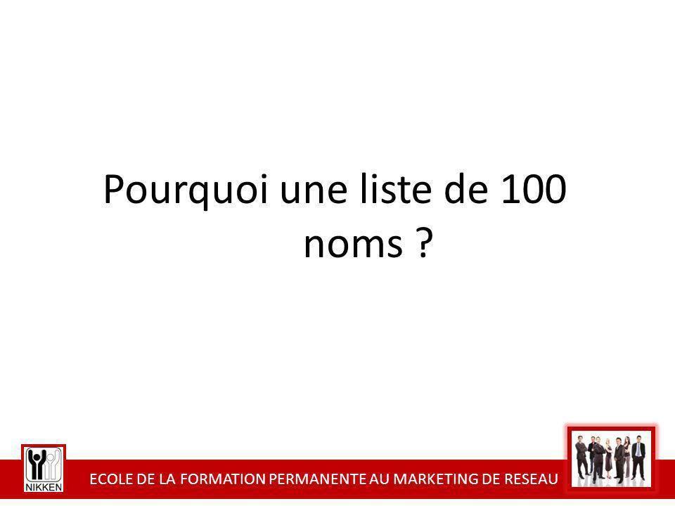 ECOLE DE LA FORMATION PERMANENTE AU MARKETING DE RESEAU Pourquoi une liste de 100 noms ?