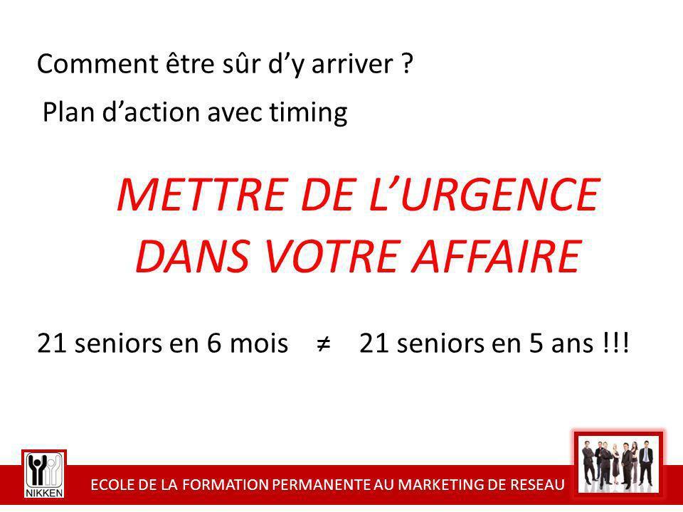 ECOLE DE LA FORMATION PERMANENTE AU MARKETING DE RESEAU METTRE DE LURGENCE DANS VOTRE AFFAIRE 21 seniors en 6 mois 21 seniors en 5 ans !!! Comment êtr