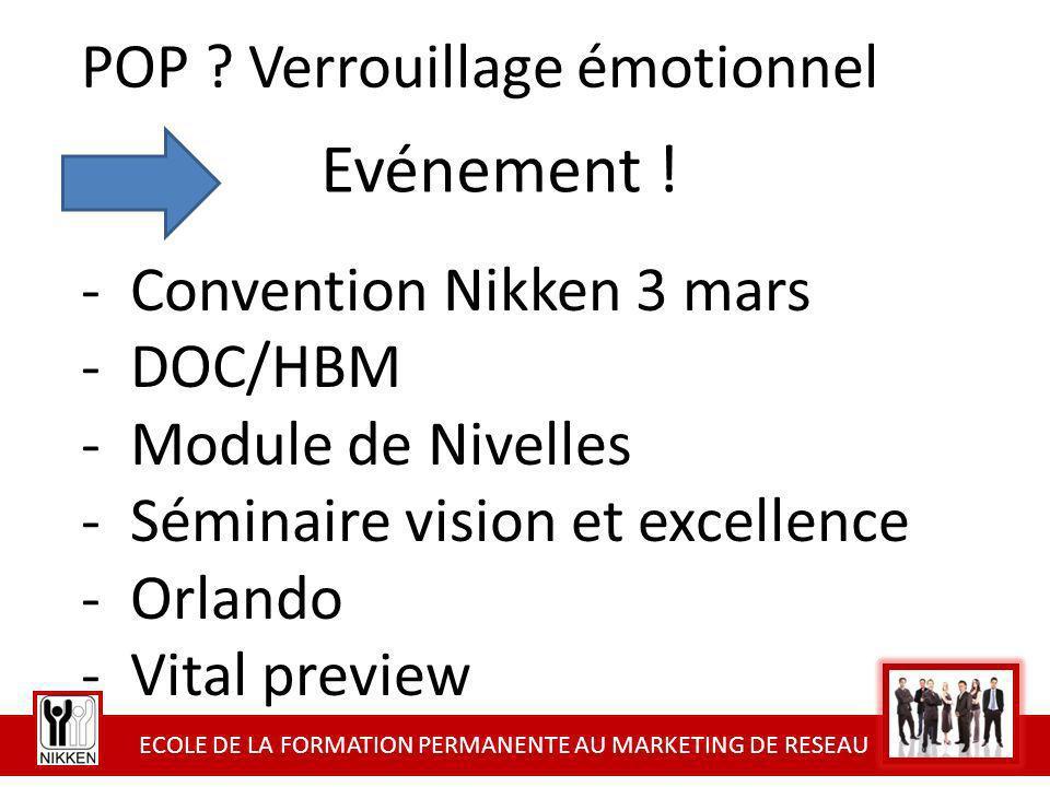 ECOLE DE LA FORMATION PERMANENTE AU MARKETING DE RESEAU POP ? Verrouillage émotionnel - Convention Nikken 3 mars - DOC/HBM - Module de Nivelles - Sémi