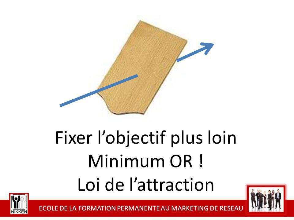 ECOLE DE LA FORMATION PERMANENTE AU MARKETING DE RESEAU Fixer lobjectif plus loin Minimum OR ! Loi de lattraction