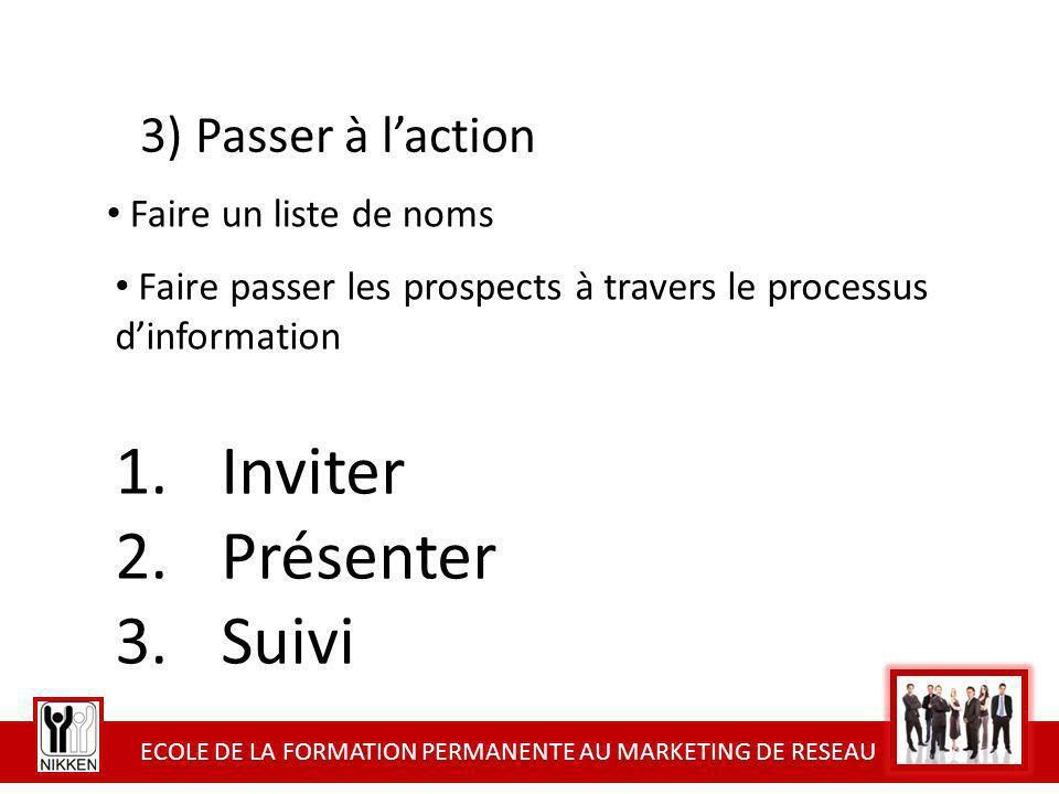 ECOLE DE LA FORMATION PERMANENTE AU MARKETING DE RESEAU 1.Inviter 2.Présenter 3.Suivi 3) Passer à laction Faire passer les prospects à travers le proc