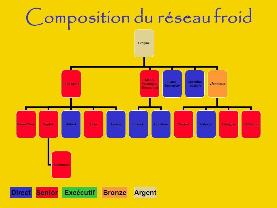 SeniorDirectExcécutifArgentBronze Composition du réseau froid Evelyne Rose-Marie Pierre-YvesSophie Emmanuel RobertElisaAurélie Marie- Françoise Emmanu