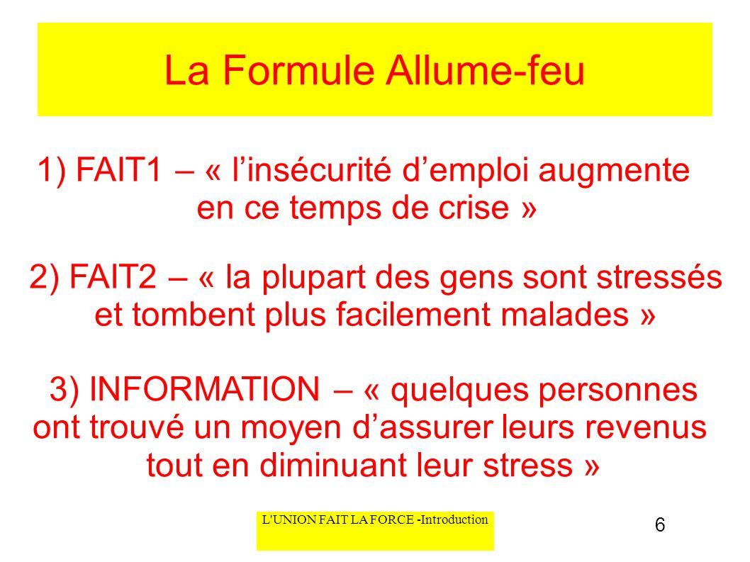 L'UNION FAIT LA FORCE -Introduction La Formule Allume-feu 1) FAIT1 – « linsécurité demploi augmente en ce temps de crise » 2) FAIT2 – « la plupart des