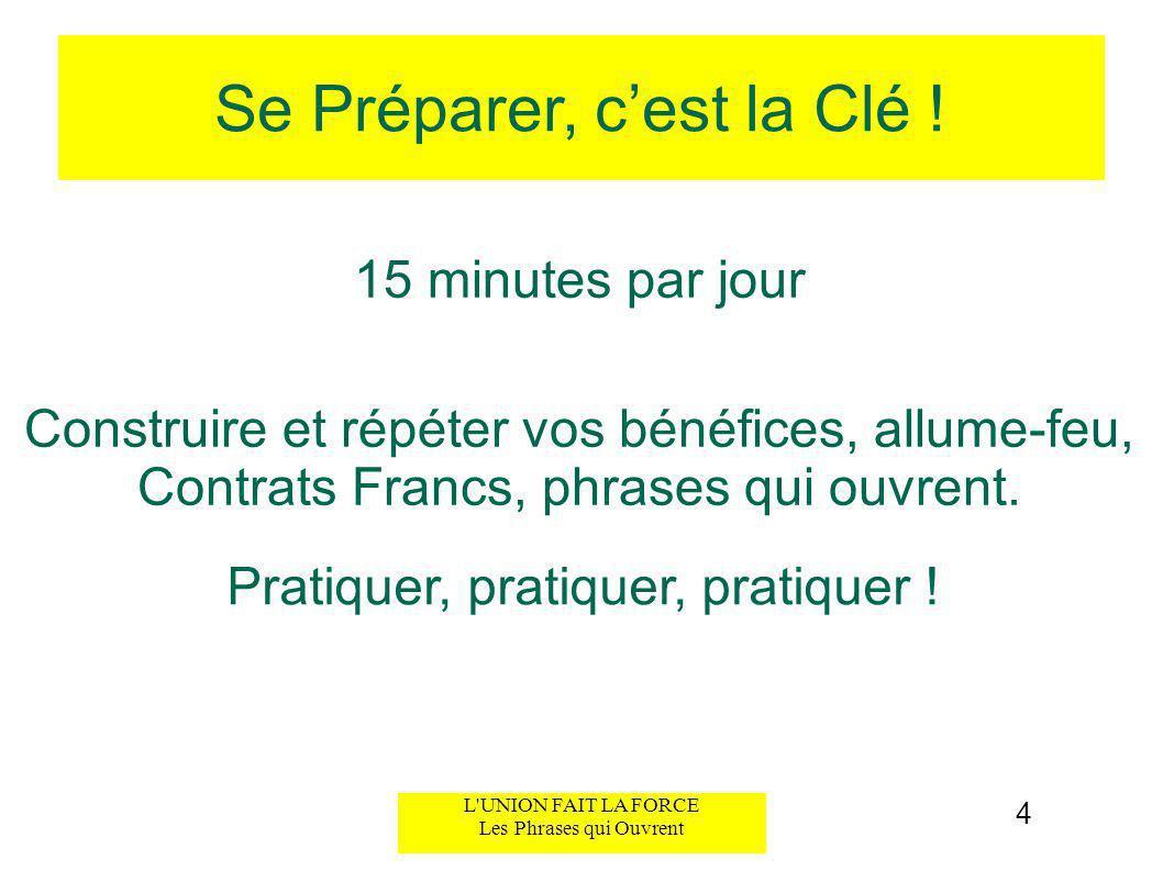 Se Préparer, cest la Clé ! 15 minutes par jour 4 Construire et répéter vos bénéfices, allume-feu, Contrats Francs, phrases qui ouvrent. Pratiquer, pra