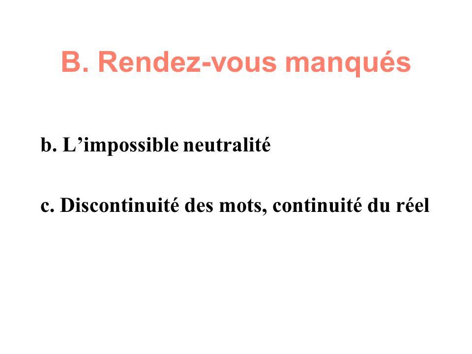 B. Rendez-vous manqués b. Limpossible neutralité c. Discontinuité des mots, continuité du réel