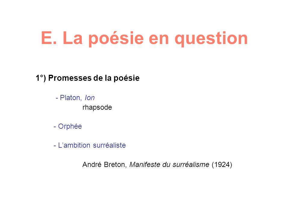E. La poésie en question 1°) Promesses de la poésie - Platon, Ion rhapsode - Orphée - Lambition surréaliste André Breton, Manifeste du surréalisme (19