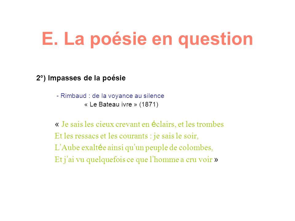 E. La poésie en question 2°) Impasses de la poésie - Rimbaud : de la voyance au silence « Le Bateau ivre » (1871) « Je sais les cieux crevant en é cla