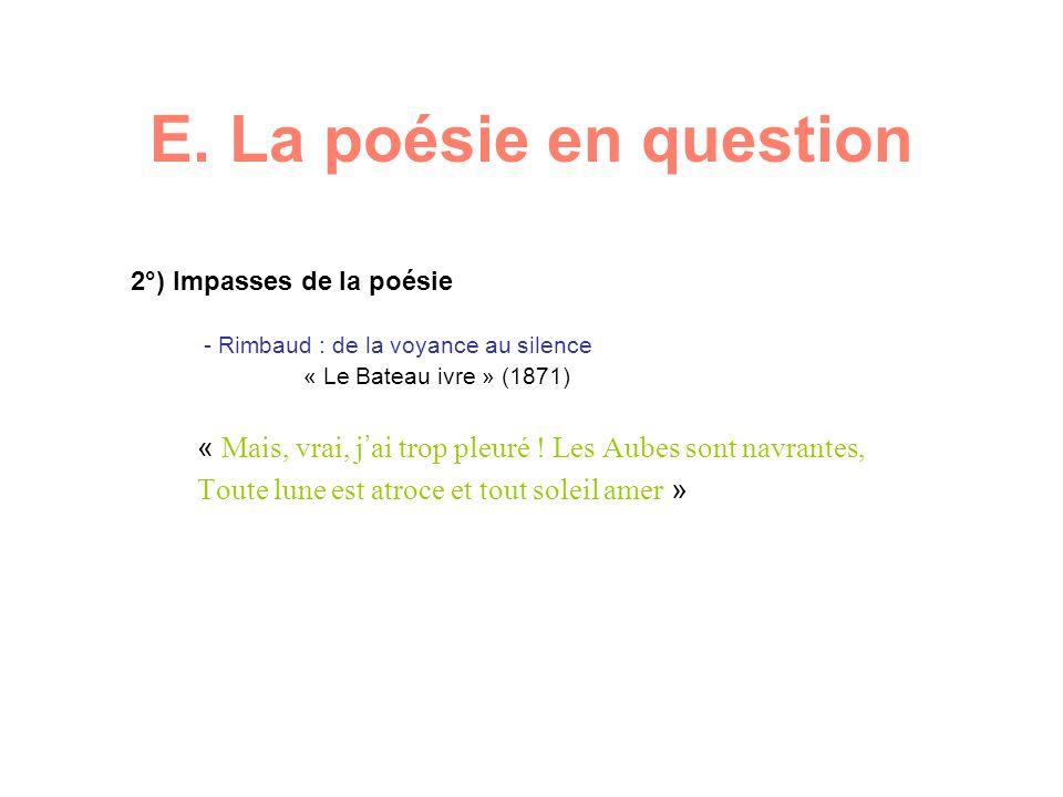 E. La poésie en question 2°) Impasses de la poésie - Rimbaud : de la voyance au silence « Le Bateau ivre » (1871) « Mais, vrai, j ai trop pleuré ! Les