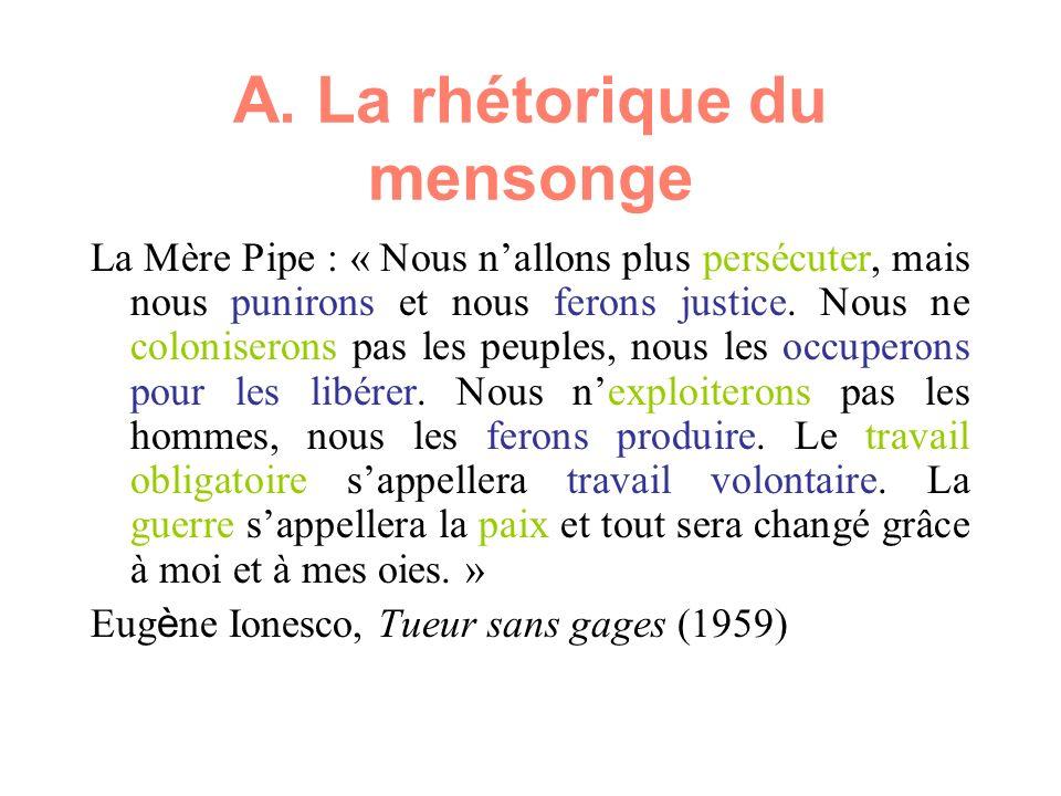 A. La rhétorique du mensonge La Mère Pipe : « Nous nallons plus persécuter, mais nous punirons et nous ferons justice. Nous ne coloniserons pas les pe