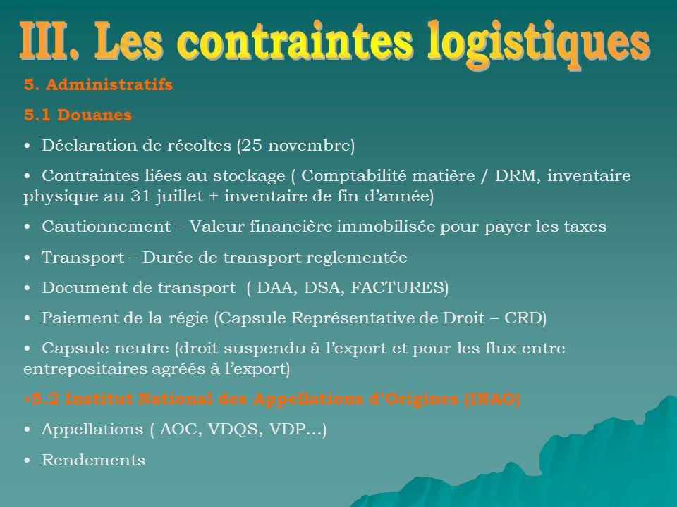 5. Administratifs 5.1 Douanes Déclaration de récoltes (25 novembre) Contraintes liées au stockage ( Comptabilité matière / DRM, inventaire physique au