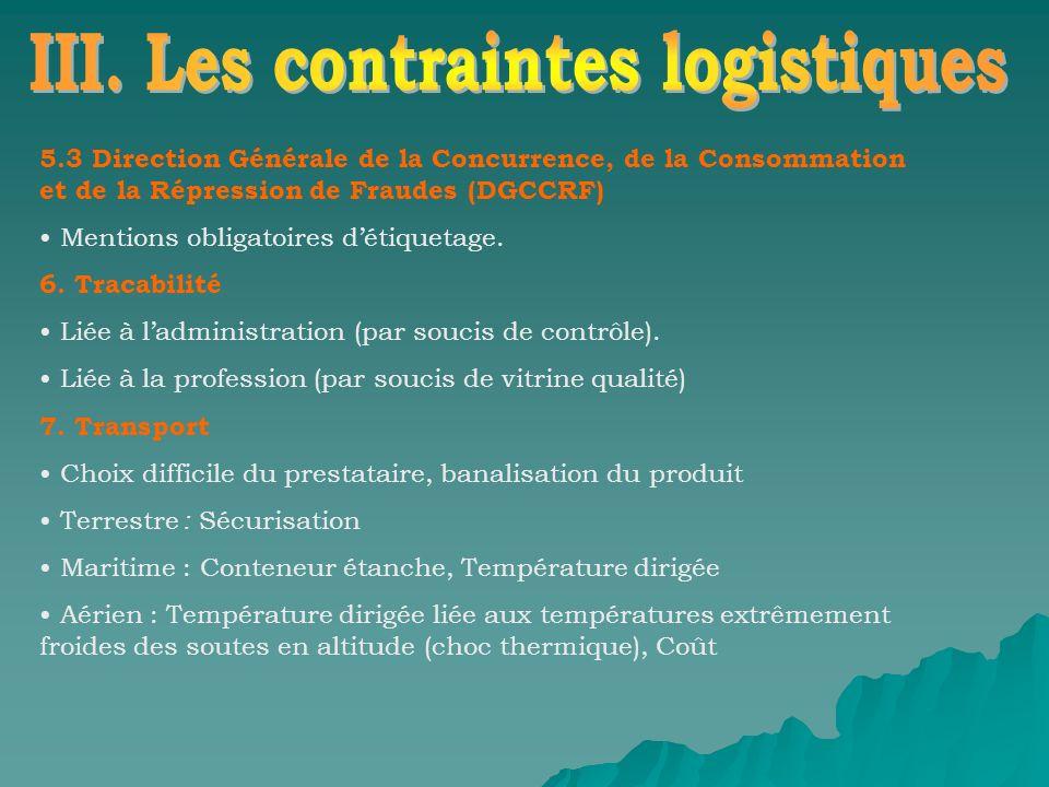 5.3 Direction Générale de la Concurrence, de la Consommation et de la Répression de Fraudes (DGCCRF) Mentions obligatoires détiquetage. 6. Tracabilité