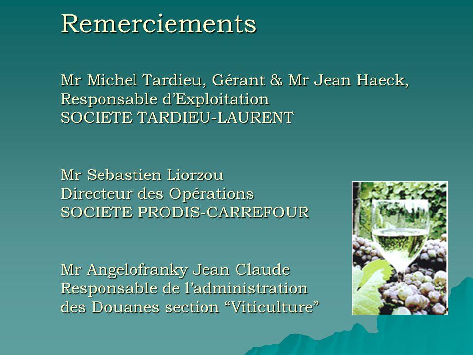 Remerciements Mr Michel Tardieu, Gérant & Mr Jean Haeck, Responsable dExploitation SOCIETE TARDIEU-LAURENT Mr Sebastien Liorzou Directeur des Opératio