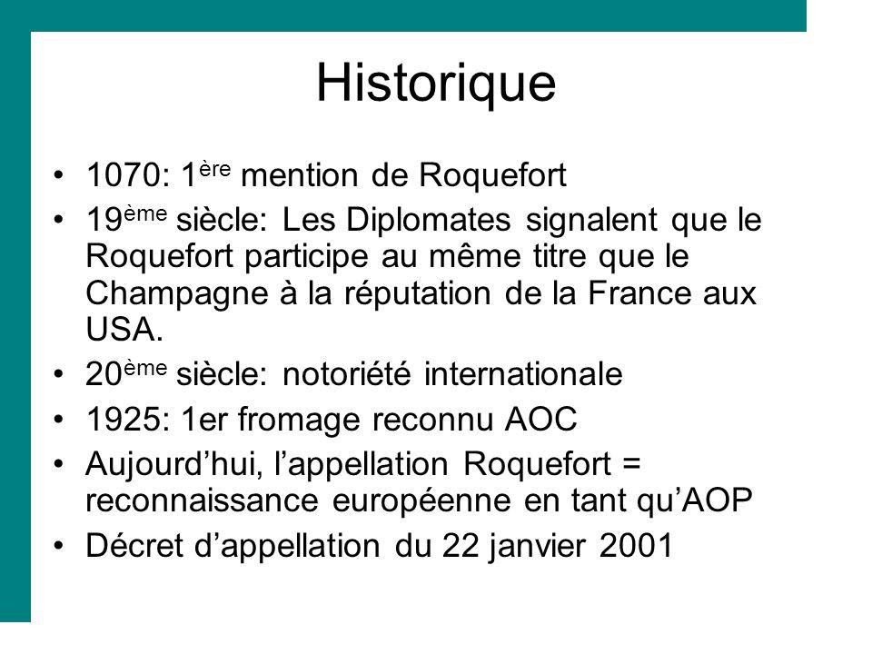 Historique 1070: 1 ère mention de Roquefort 19 ème siècle: Les Diplomates signalent que le Roquefort participe au même titre que le Champagne à la rép