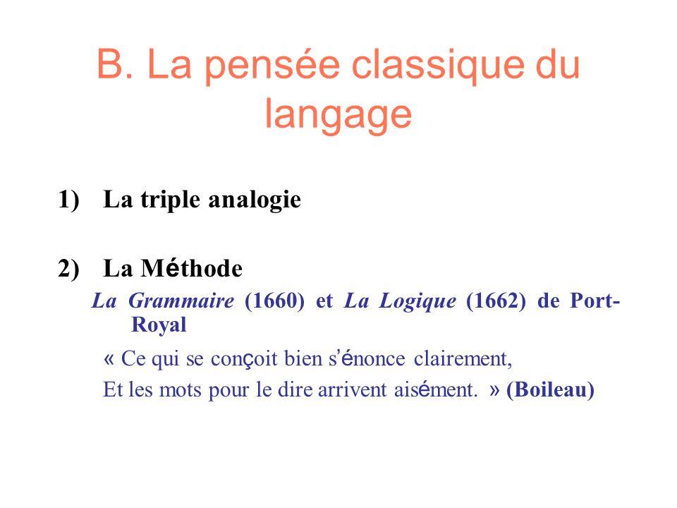 B. La pensée classique du langage 1)La triple analogie 2)La M é thode La Grammaire (1660) et La Logique (1662) de Port- Royal « Ce qui se con ç oit bi