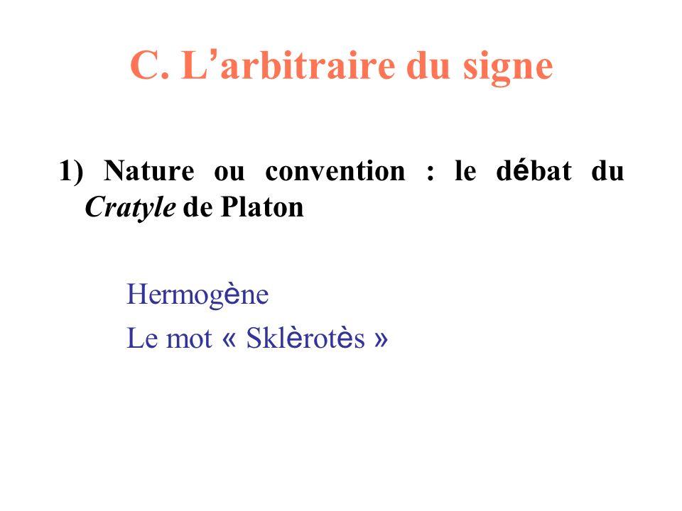 C. L arbitraire du signe 1) Nature ou convention : le d é bat du Cratyle de Platon Hermog è ne Le mot « Skl è rot è s »
