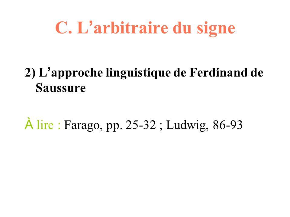 C. L arbitraire du signe 2) L approche linguistique de Ferdinand de Saussure À lire : Farago, pp. 25-32 ; Ludwig, 86-93