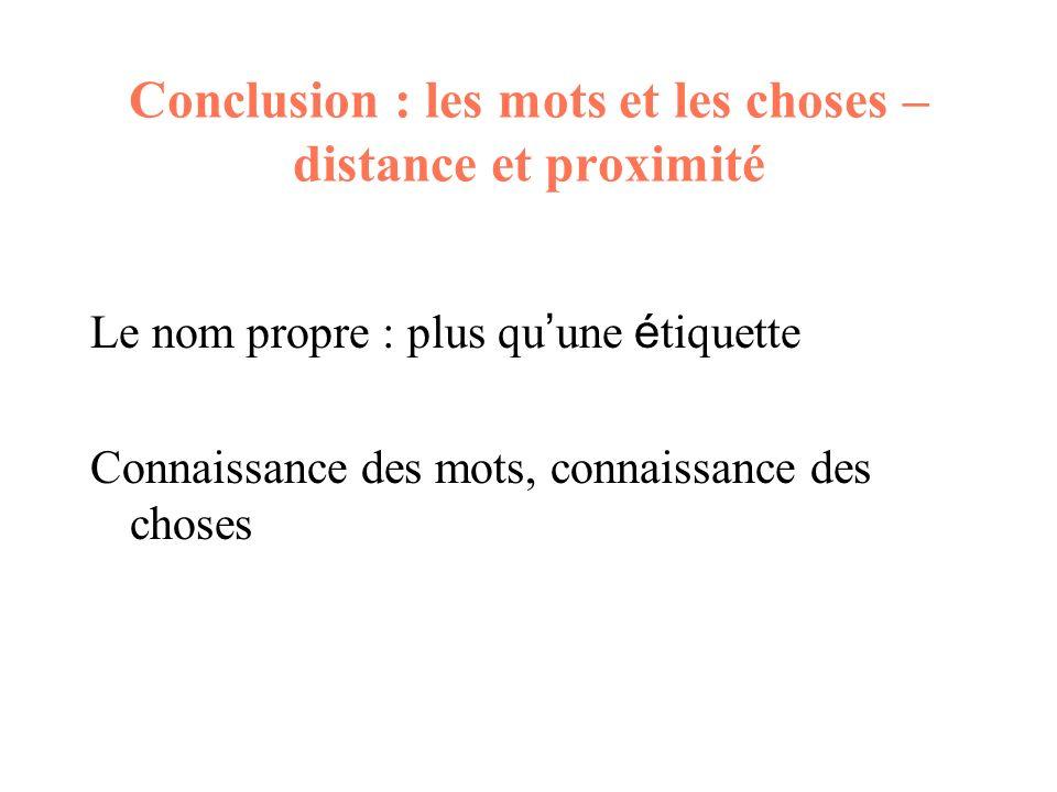 Conclusion : les mots et les choses – distance et proximité Le nom propre : plus qu une é tiquette Connaissance des mots, connaissance des choses