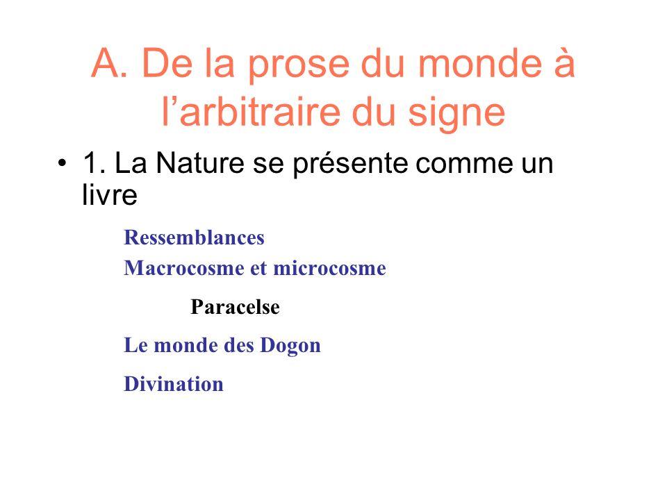 A. De la prose du monde à larbitraire du signe 1. La Nature se présente comme un livre Ressemblances Macrocosme et microcosme Paracelse Le monde des D