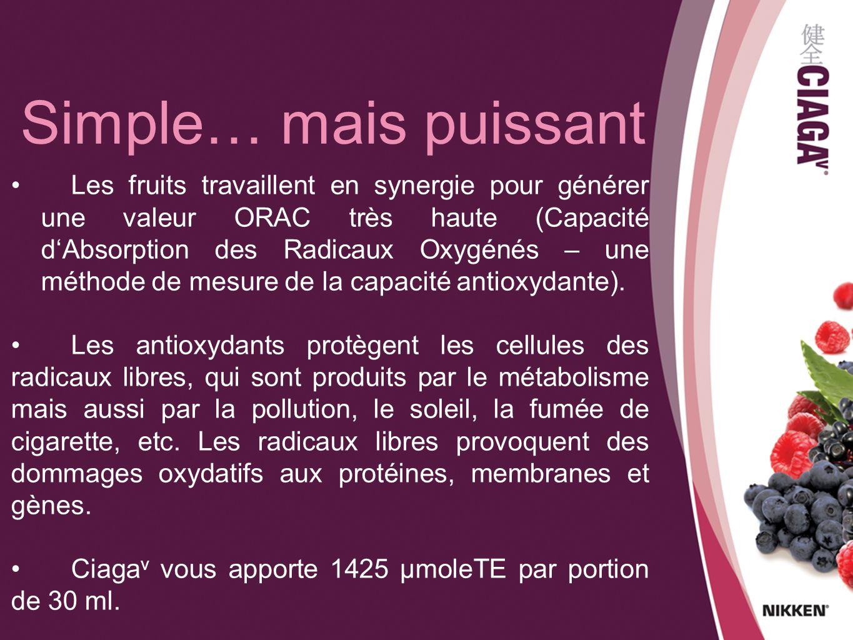 Les fruits travaillent en synergie pour générer une valeur ORAC très haute (Capacité dAbsorption des Radicaux Oxygénés – une méthode de mesure de la c