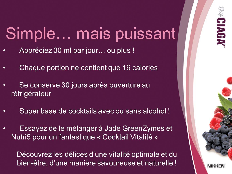 Appréciez 30 ml par jour… ou plus ! Chaque portion ne contient que 16 calories Se conserve 30 jours après ouverture au réfrigérateur Super base de coc